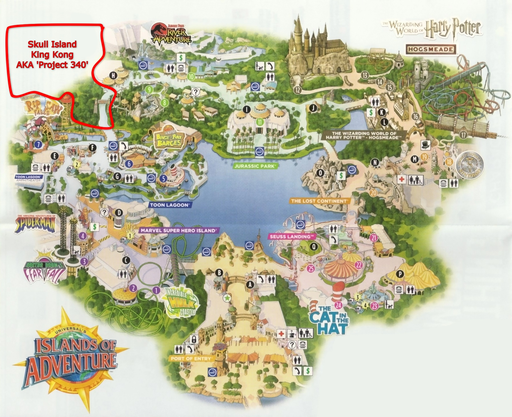Universal Island Of Adventure Map With Harry Potter